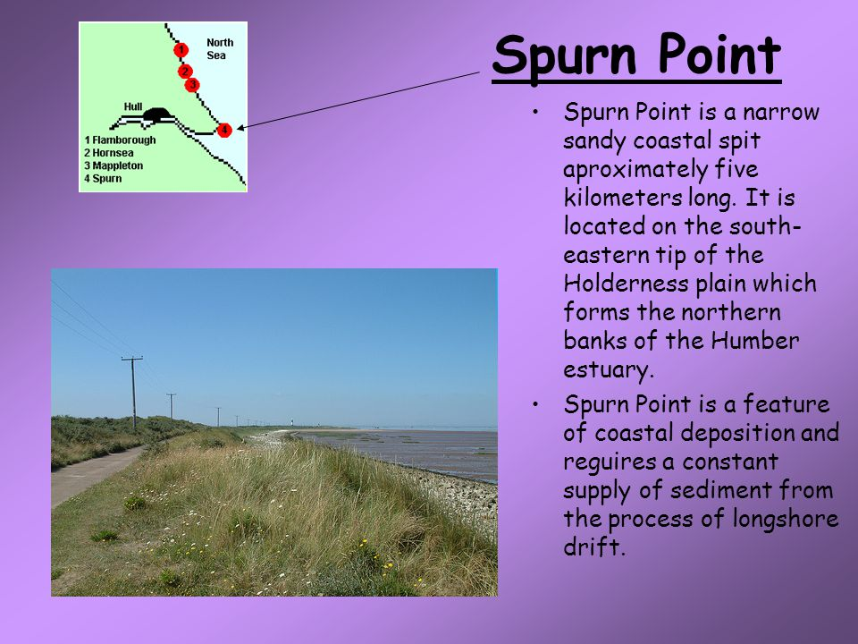 Spurn Point Spurn Point is a narrow sandy coastal spit aproximately five kilometers long.