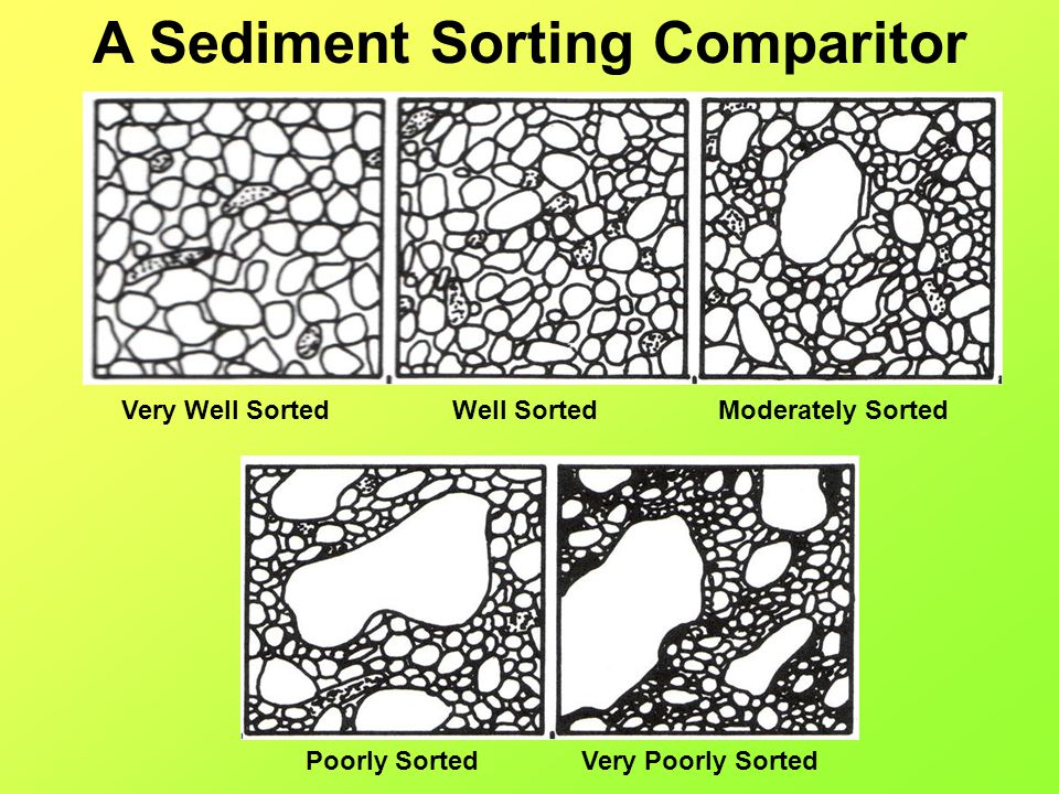 A Sediment Sorting Comparitor Very Well SortedWell SortedModerately Sorted Poorly SortedVery Poorly Sorted