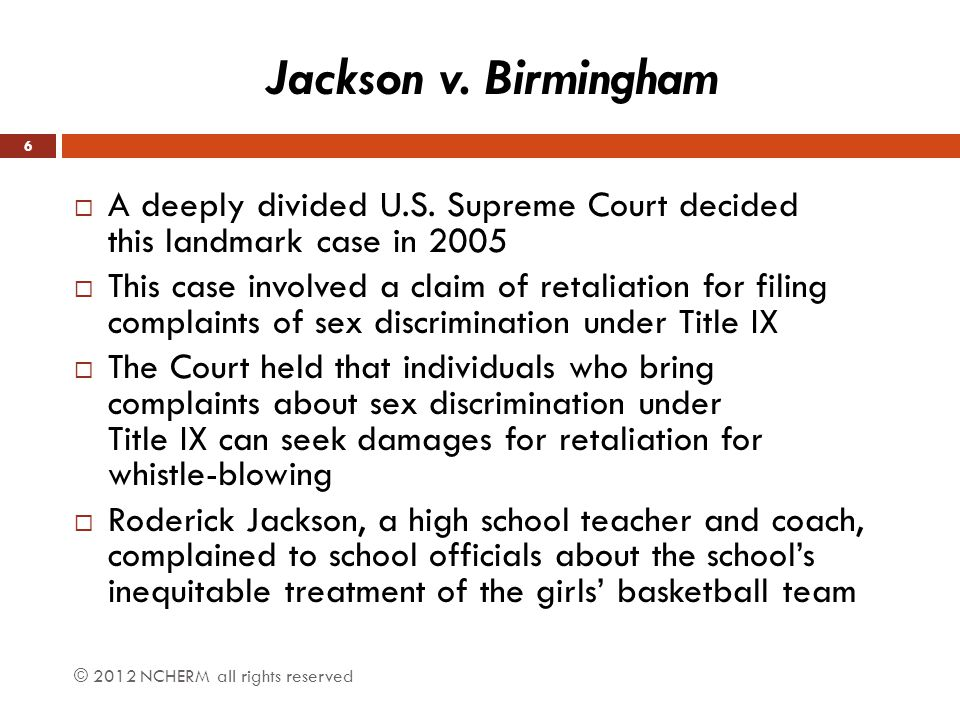  He received negative evaluations for the next year and was removed from his coaching position  He sued the school charging that they violated Title IX by retaliating against him for protesting the discrimination against the girls' team  The U.S.