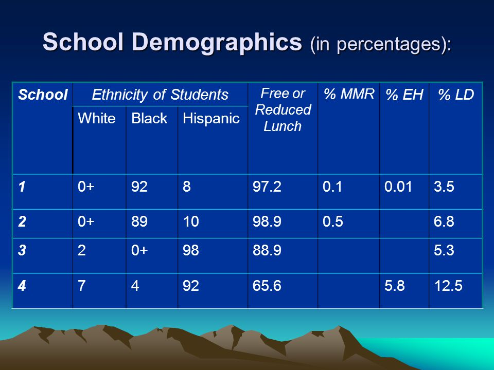School Demographics (in percentages): SchoolEthnicity of Students Free or Reduced Lunch % MMR % EH% LD WhiteBlackHispanic 10+92897.20.10.013.5 20+891098.90.56.8 320+9888.95.3 4749265.65.812.5