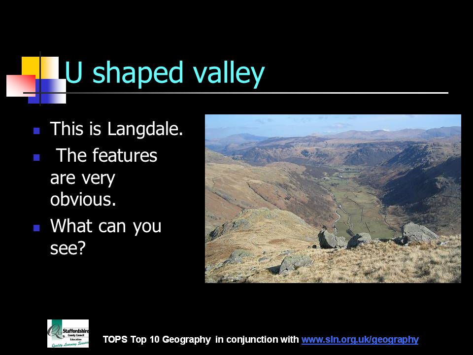 U shaped valley This is Langdale. The features are very obvious. What can you see?