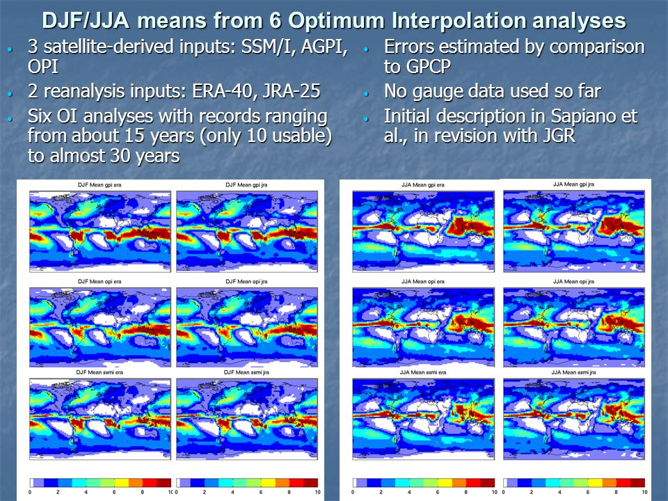 DJF/JJA means from 6 Optimum Interpolation analyses Fig 1: DJF means.