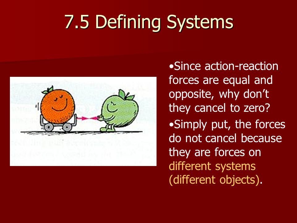 7.5 Defining Systems Since action-reaction forces are equal and opposite, why don't they cancel to zero.