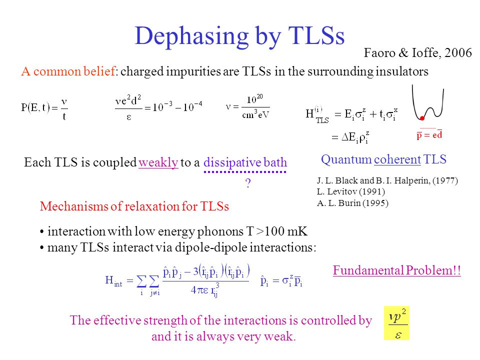 Dephasing by TLSs Mechanisms of relaxation for TLSs A common belief: charged impurities are TLSs in the surrounding insulators J. L. Black and B. I. H