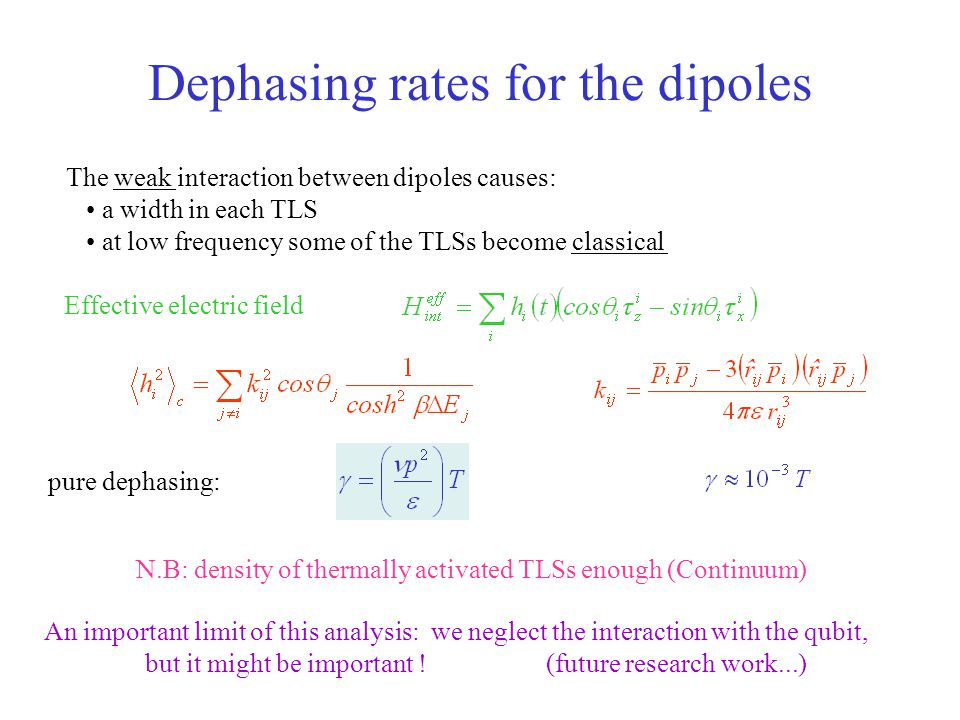 Dephasing rates for the dipoles pure dephasing: The weak interaction between dipoles causes: a width in each TLS at low frequency some of the TLSs bec