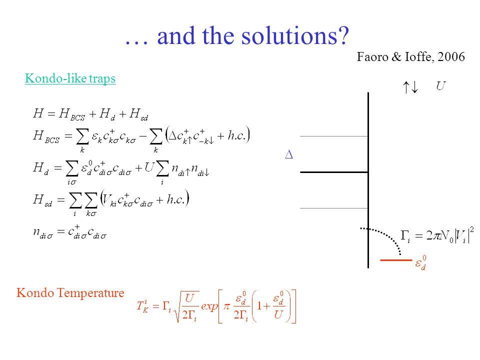 Kondo Temperature … and the solutions? Faoro & Ioffe, 2006 Kondo-like traps
