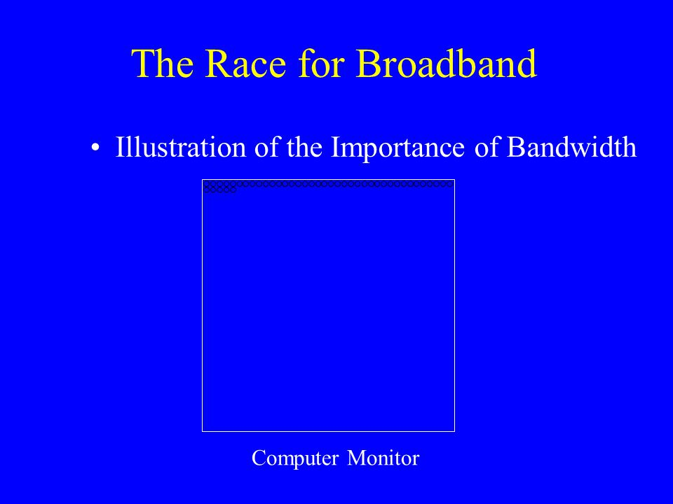 The Race for Broadband Illustration of the Importance of Bandwidth Computer Monitor