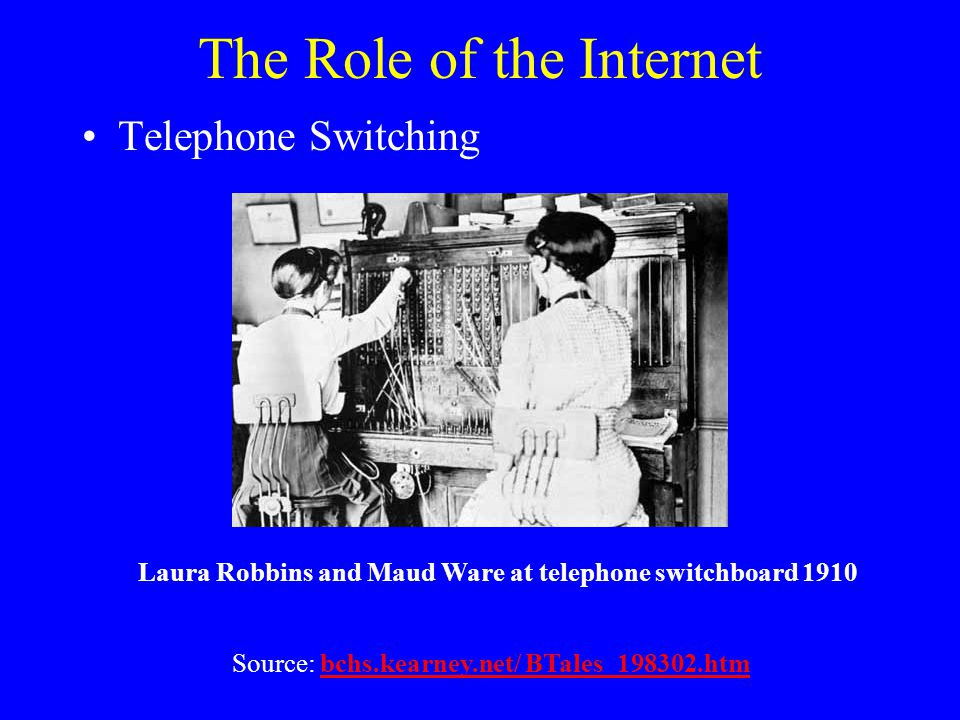The Role of the Internet Source: bchs.kearney.net/ BTales_198302.htmbchs.kearney.net/ BTales_198302.htm Laura Robbins and Maud Ware at telephone switchboard 1910 Telephone Switching