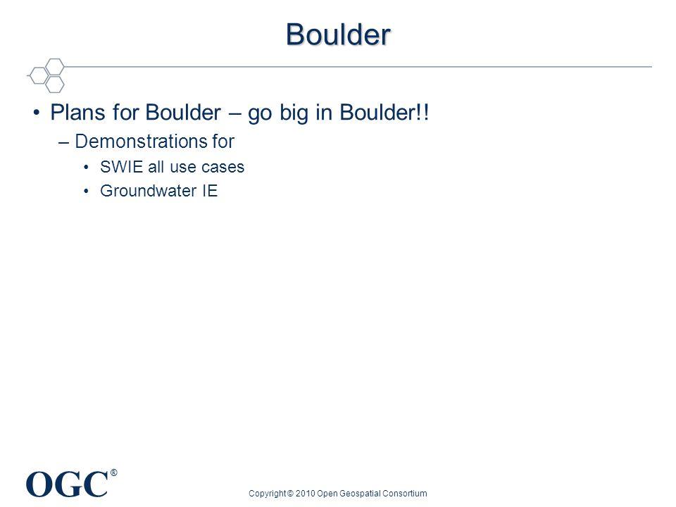 OGC ® Boulder Plans for Boulder – go big in Boulder!! –Demonstrations for SWIE all use cases Groundwater IE Copyright © 2010 Open Geospatial Consortiu