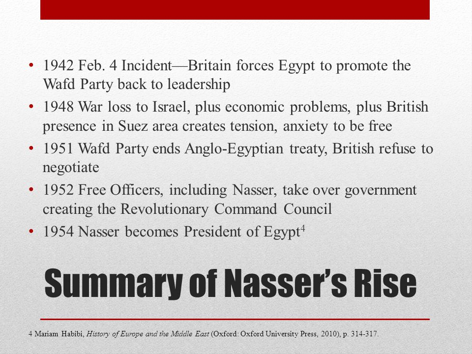 Summary of Nasser's Rise 1942 Feb.