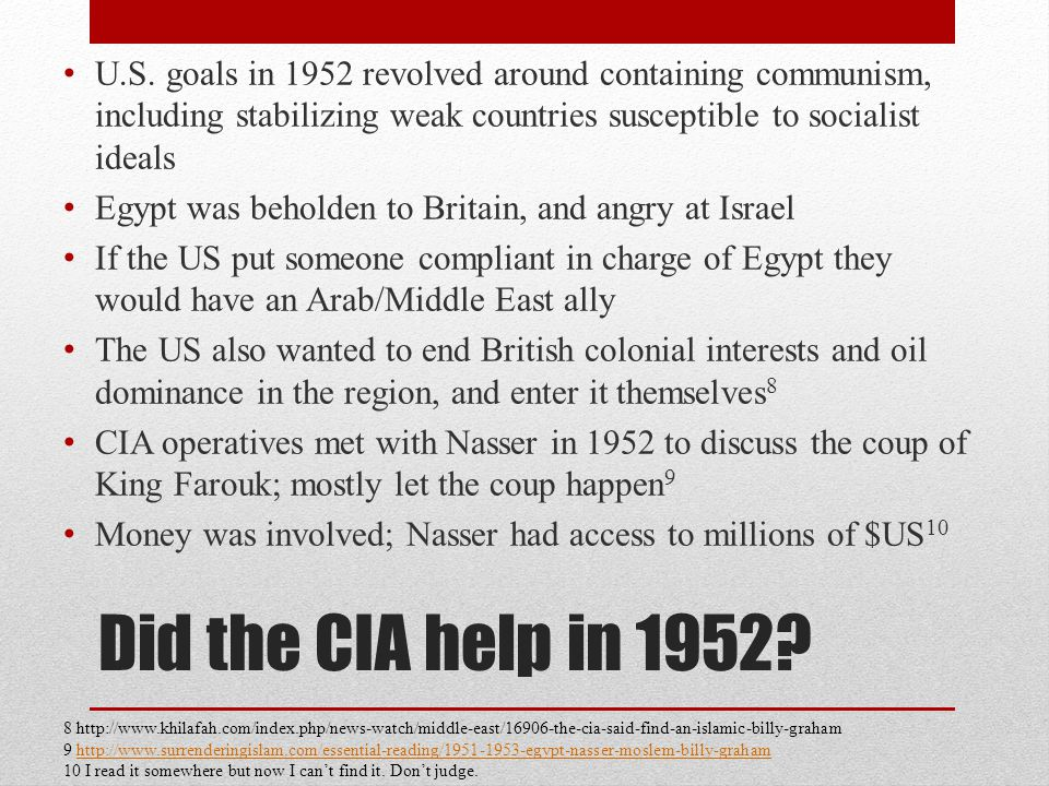 Did the CIA help in 1952. U.S.