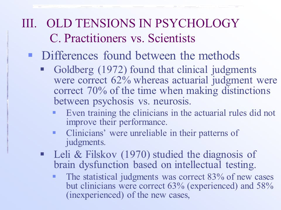 III.OLD TENSIONS IN PSYCHOLOGY C. Practitioners vs.