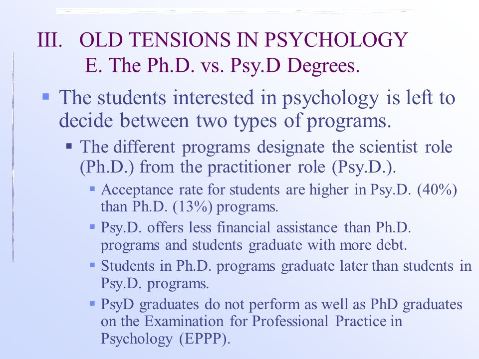 III.OLD TENSIONS IN PSYCHOLOGY E. The Ph.D. vs. Psy.D Degrees.