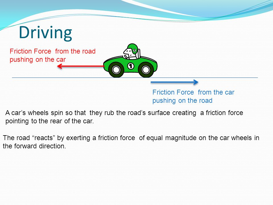 """Driving A car's wheels spin so that they rub the road's surface creating a friction force pointing to the rear of the car. The road """"reacts"""" by exerti"""
