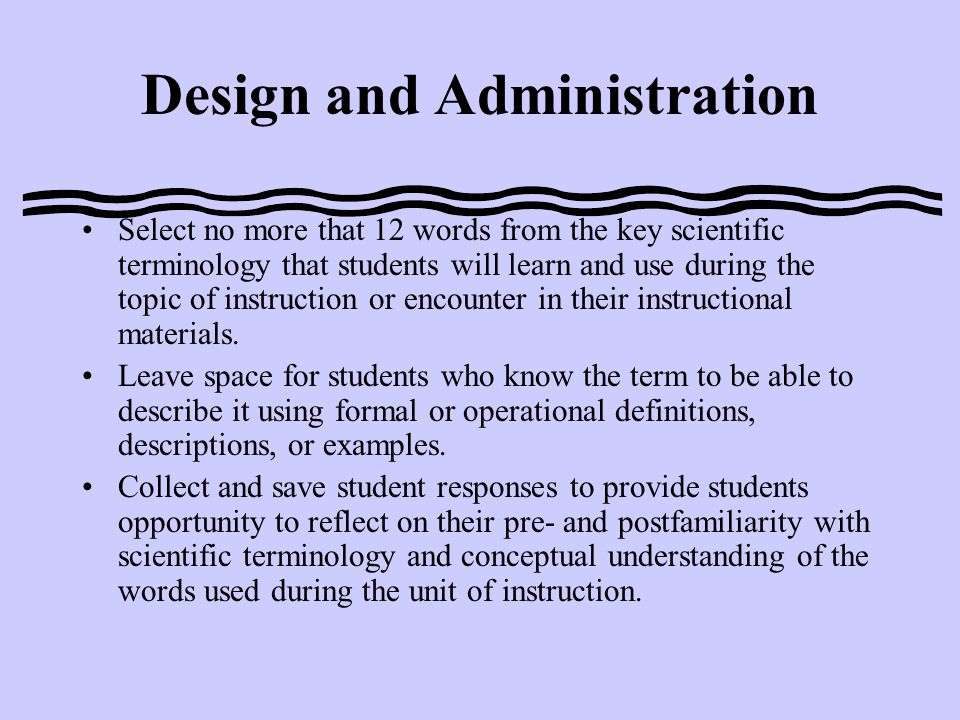How This FACT Informs Instruction STIPs are used at the beginning of a sequence of lessons to determine how familiar students are with the scientific terminology they will encounter in the topic they will study.