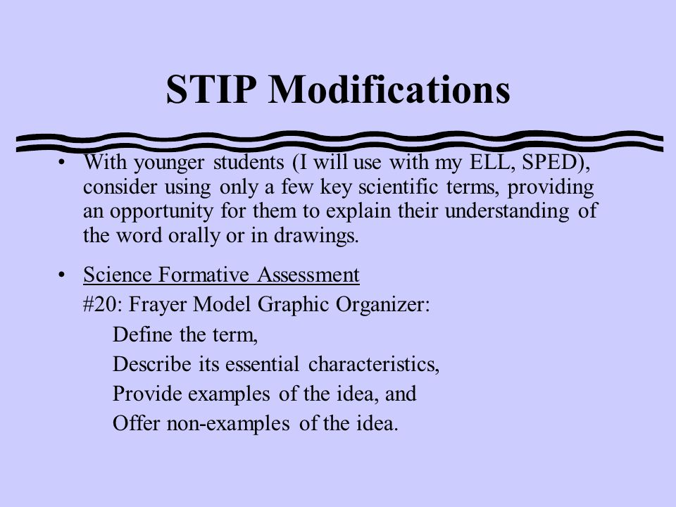 Design and Administration Select no more that 12 words from the key scientific terminology that students will learn and use during the topic of instruction or encounter in their instructional materials.