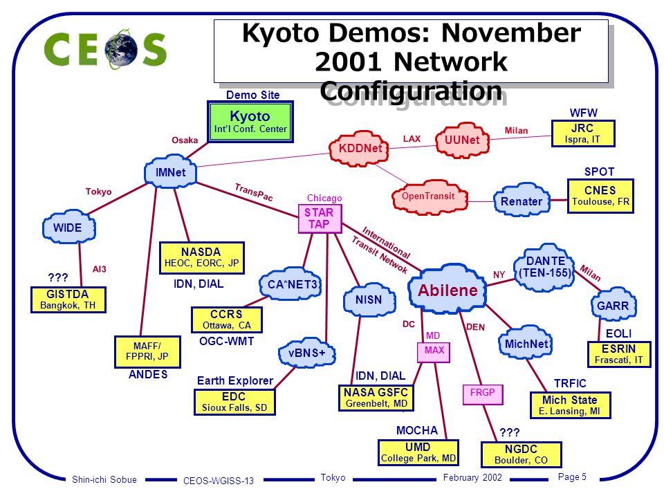Shin-ichi Sobue CEOS-WGISS-13 Page 5 Tokyo February 2002 Kyoto Int'l Conf.