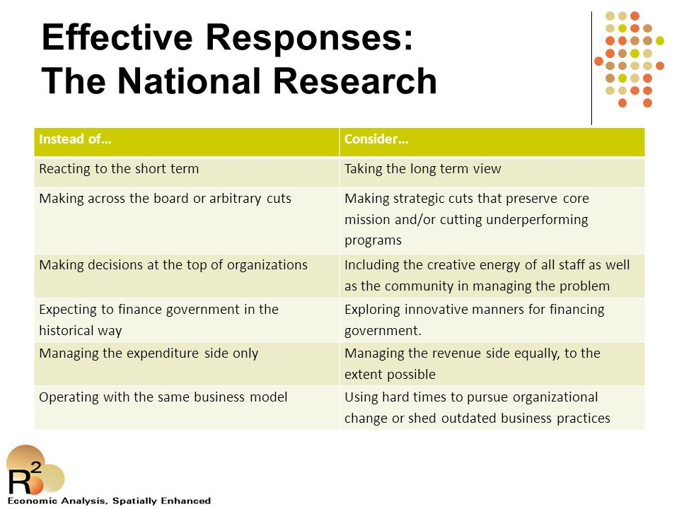 Effective Responses: The National Research Instead of…Consider… Reacting to the short termTaking the long term view Making across the board or arbitrary cuts Making strategic cuts that preserve core mission and/or cutting underperforming programs Making decisions at the top of organizations Including the creative energy of all staff as well as the community in managing the problem Expecting to finance government in the historical way Exploring innovative manners for financing government.