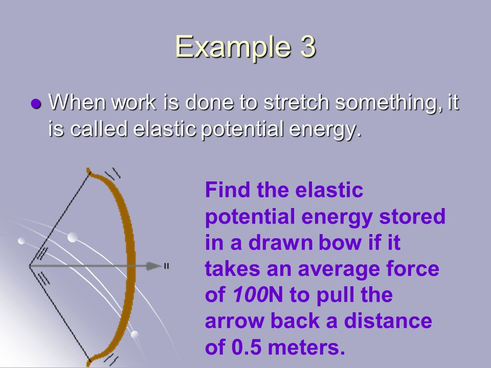 Example 3 When work is done to stretch something, it is called elastic potential energy.