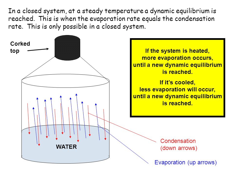 WATER Corked top Evaporation (up arrows) Condensation (down arrows) In a closed system, at a steady temperature a dynamic equilibrium is reached. This
