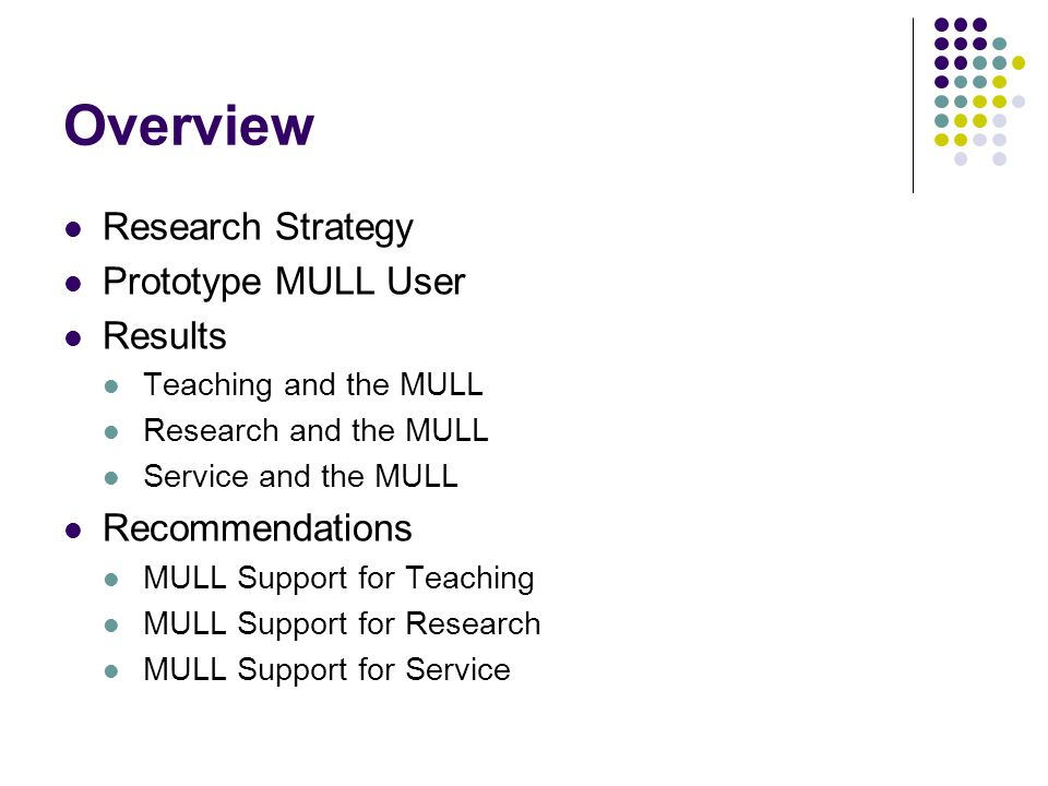 Overview Research Strategy Prototype MULL User Results Teaching and the MULL Research and the MULL Service and the MULL Recommendations MULL Support for Teaching MULL Support for Research MULL Support for Service