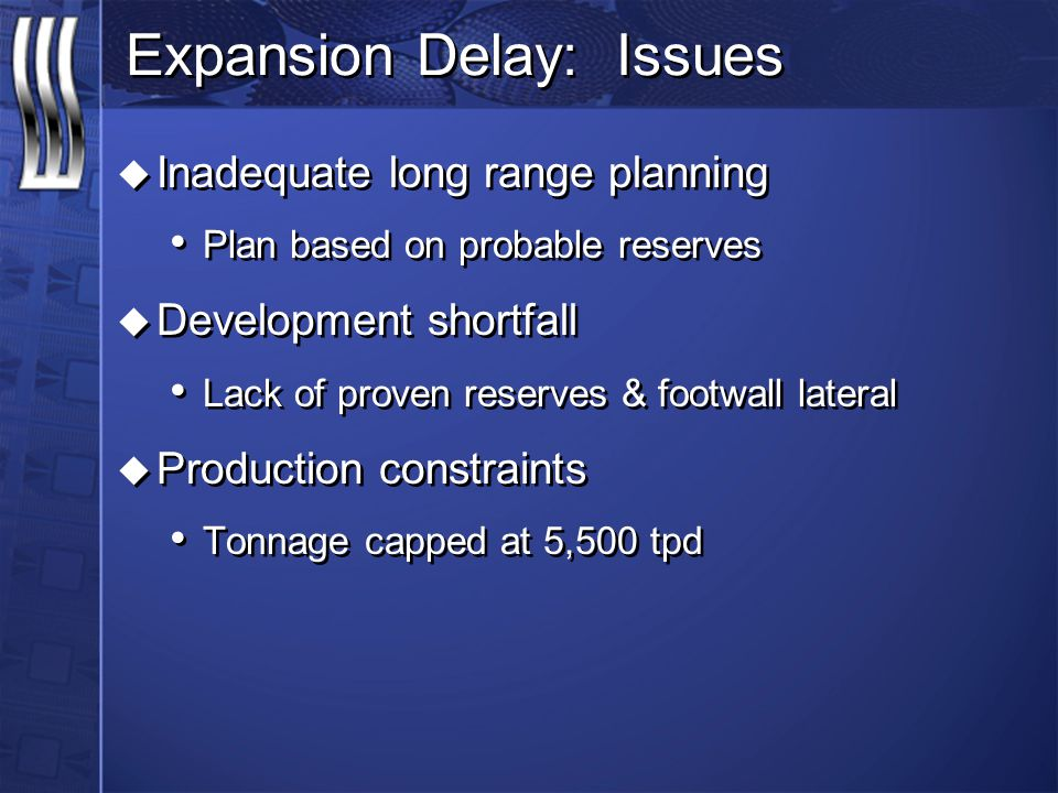 Expansion Delay: Issues u Inadequate long range planning Plan based on probable reserves u Development shortfall Lack of proven reserves & footwall lateral u Production constraints Tonnage capped at 5,500 tpd u Inadequate long range planning Plan based on probable reserves u Development shortfall Lack of proven reserves & footwall lateral u Production constraints Tonnage capped at 5,500 tpd