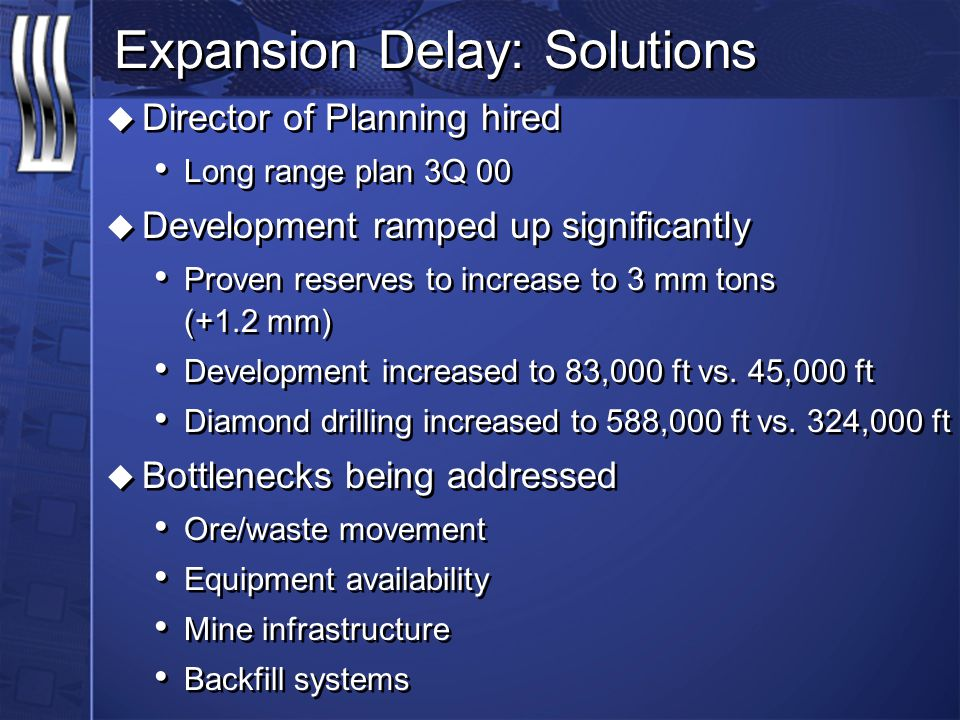 Expansion Delay: Solutions u Director of Planning hired Long range plan 3Q 00 u Development ramped up significantly Proven reserves to increase to 3 mm tons (+1.2 mm) Development increased to 83,000 ft vs.