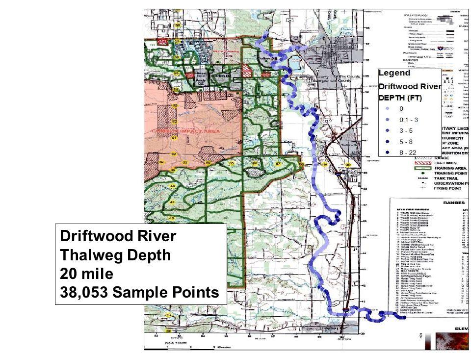 Driftwood River Thalweg Depth 20 mile 38,053 Sample Points
