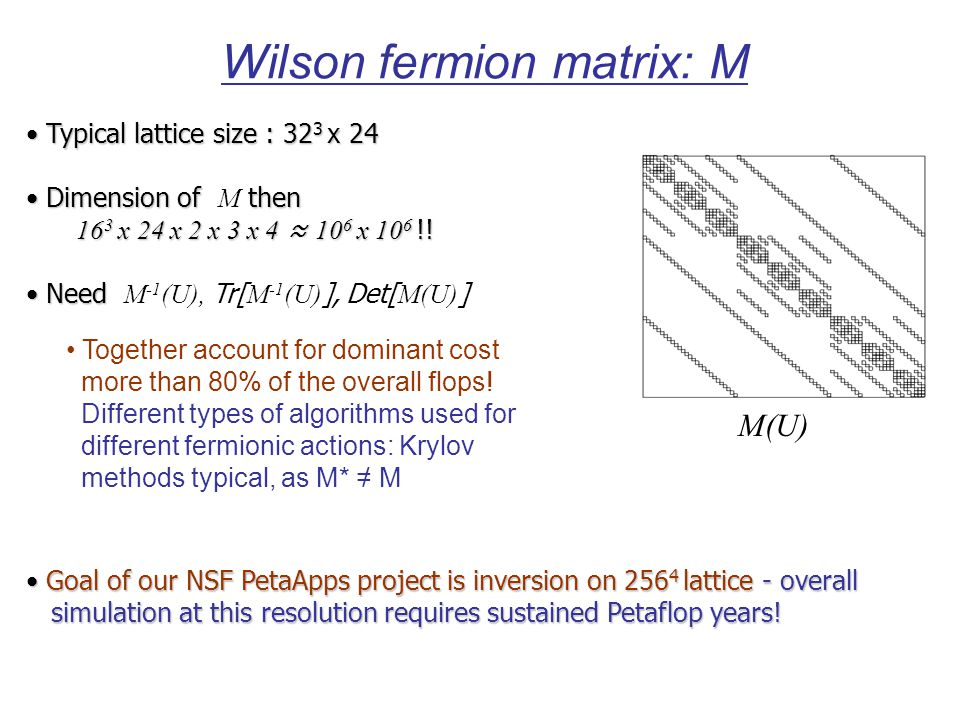 Wilson fermion matrix: M Typical lattice size : 32 3 х 24 Typical lattice size : 32 3 х 24 Dimension of then Dimension of M then 16 3 х 24 х 2 х 3 х 4 ≈ 10 6 х 10 6 !.