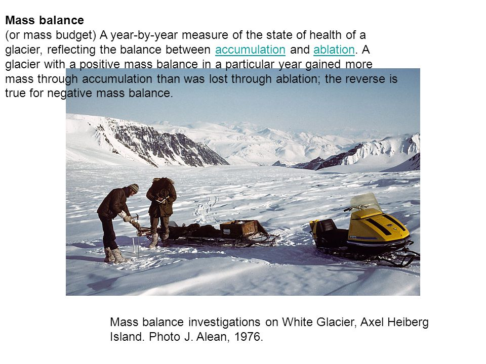 Mass balance (or mass budget) A year-by-year measure of the state of health of a glacier, reflecting the balance between accumulation and ablation.