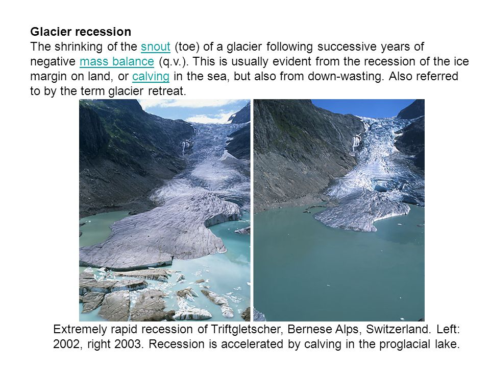 Glacier recession The shrinking of the snout (toe) of a glacier following successive years of negative mass balance (q.v.).