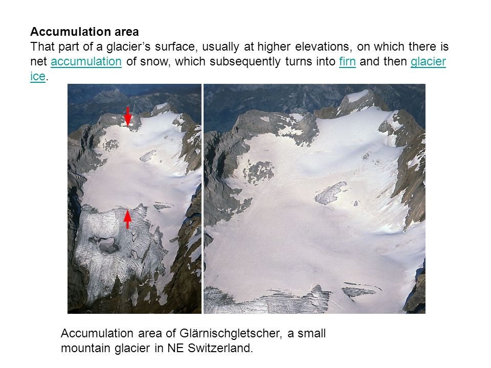 Accumulation area That part of a glacier's surface, usually at higher elevations, on which there is net accumulation of snow, which subsequently turns into firn and then glacier ice.accumulationfirnglacier ice Accumulation area of Glärnischgletscher, a small mountain glacier in NE Switzerland.