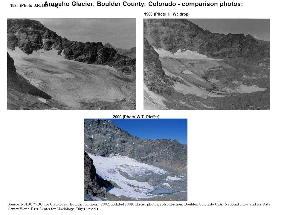 Arapaho Glacier, Boulder County, Colorado - comparison photos: 1898 (Photo J.R.