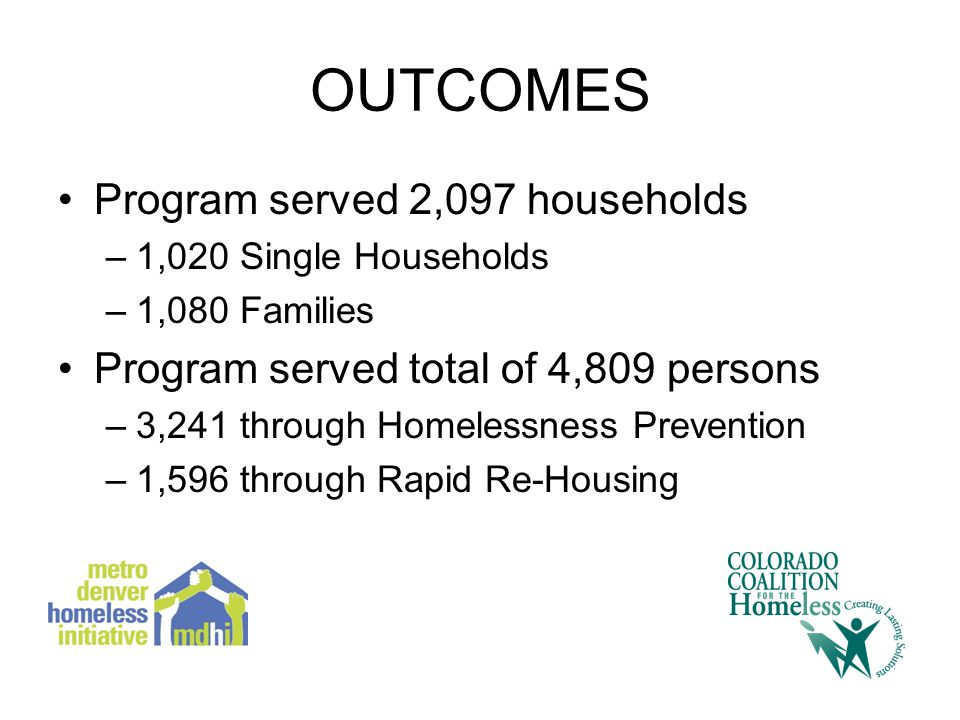 OUTCOMES Program served 2,097 households –1,020 Single Households –1,080 Families Program served total of 4,809 persons –3,241 through Homelessness Prevention –1,596 through Rapid Re-Housing