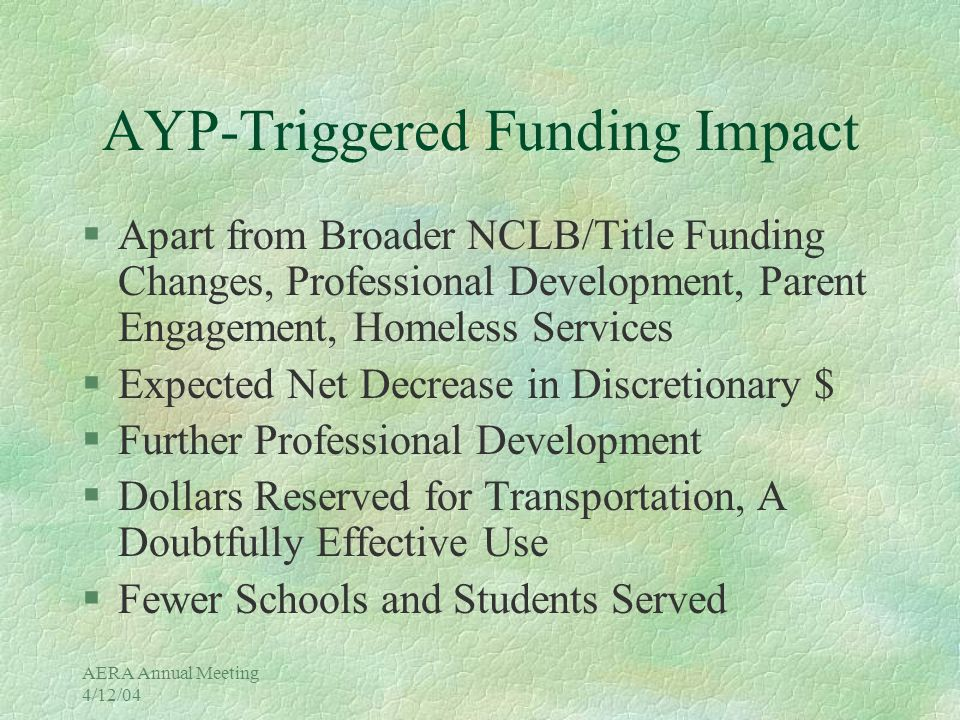 AERA Annual Meeting 4/12/04 District Groups Not Making AYP in 2003 % of Targets Missed Overall 0 Asian 0 White 0 Black 0 American Indian 0 Hispanic33 English Language Learners83 Students With Disabilities33 Free/Reduced Lunch* (not in AYP) 17