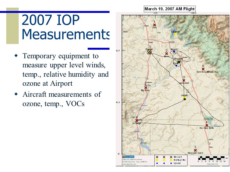 2007 IOP Measurements  Temporary equipment to measure upper level winds, temp., relative humidity and ozone at Airport  Aircraft measurements of ozone, temp., VOCs