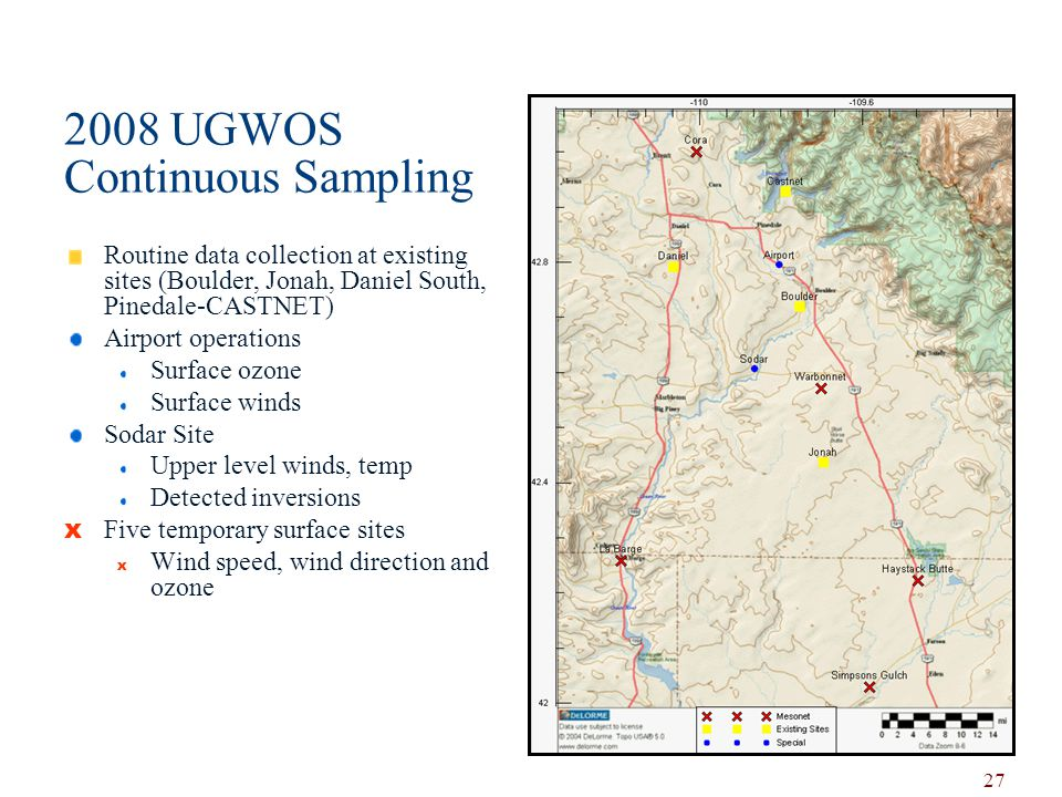 2008 UGWOS Continuous Sampling Routine data collection at existing sites (Boulder, Jonah, Daniel South, Pinedale-CASTNET) Airport operations Surface ozone Surface winds Sodar Site Upper level winds, temp Detected inversions x Five temporary surface sites x Wind speed, wind direction and ozone 27