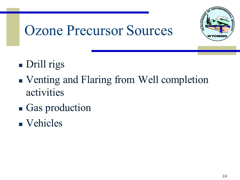 Ozone Precursor Sources Drill rigs Venting and Flaring from Well completion activities Gas production Vehicles 39