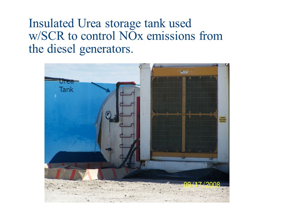Insulated Urea storage tank used w/SCR to control NOx emissions from the diesel generators.