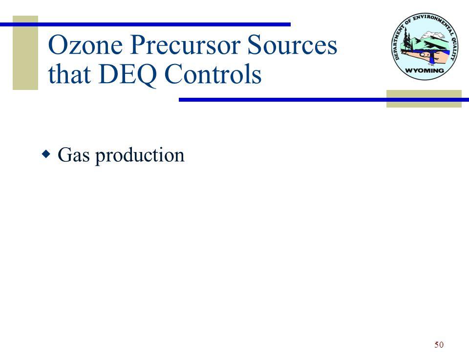 Ozone Precursor Sources that DEQ Controls  Gas production 50