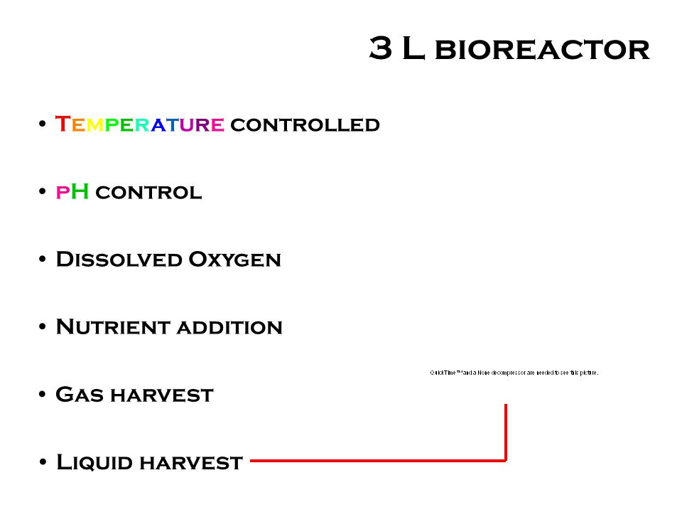 3 L bioreactor Temperature controlled pH control Dissolved Oxygen Nutrient addition Liquid harvest Gas harvest