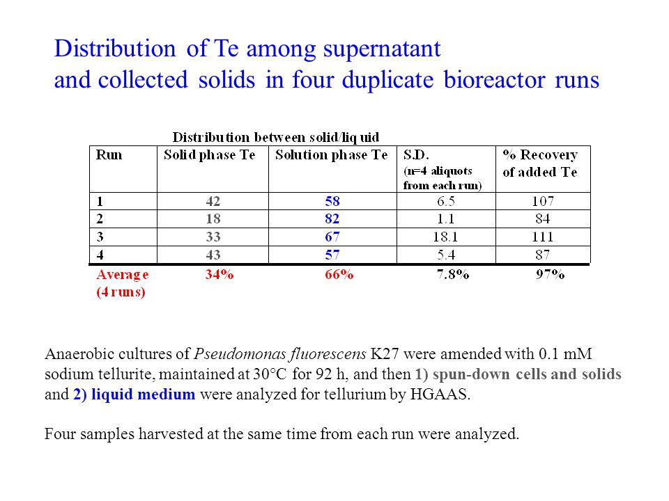 Distribution of Te among supernatant and collected solids in four duplicate bioreactor runs Anaerobic cultures of Pseudomonas fluorescens K27 were amended with 0.1 mM sodium tellurite, maintained at 30°C for 92 h, and then 1) spun-down cells and solids and 2) liquid medium were analyzed for tellurium by HGAAS.