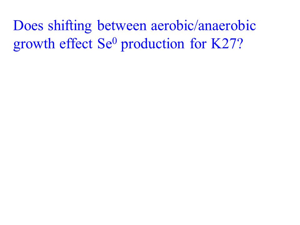 Does shifting between aerobic/anaerobic growth effect Se 0 production for K27?