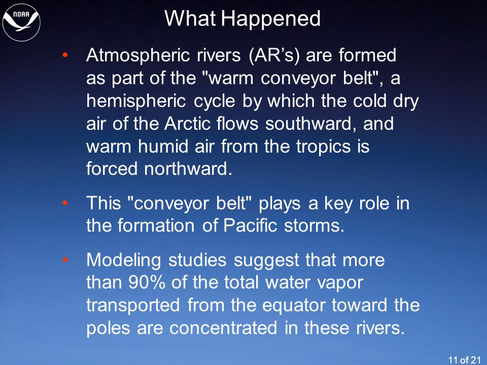11 of 21 What Happened Atmospheric rivers (AR's) are formed as part of the warm conveyor belt , a hemispheric cycle by which the cold dry air of the Arctic flows southward, and warm humid air from the tropics is forced northward.