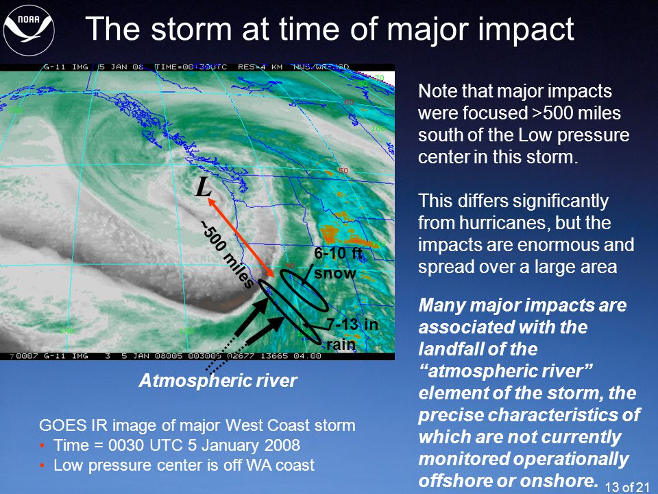 13 of 21 The storm at time of major impact Note that major impacts were focused >500 miles south of the Low pressure center in this storm.
