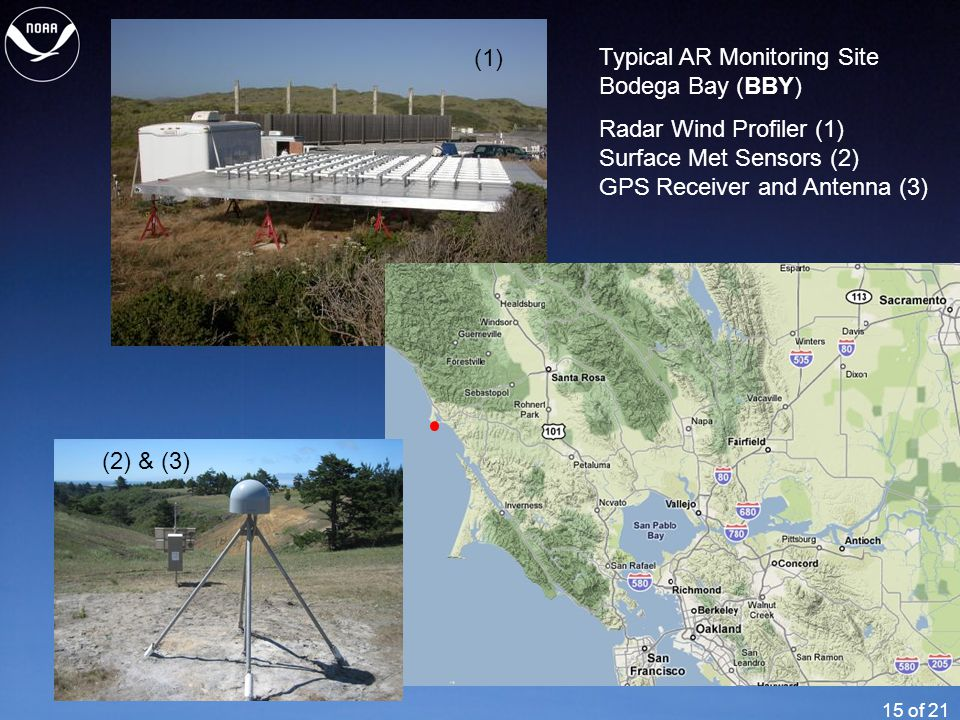15 of 21 Typical AR Monitoring Site Bodega Bay (BBY) Radar Wind Profiler (1) Surface Met Sensors (2) GPS Receiver and Antenna (3) (1) (2) & (3)