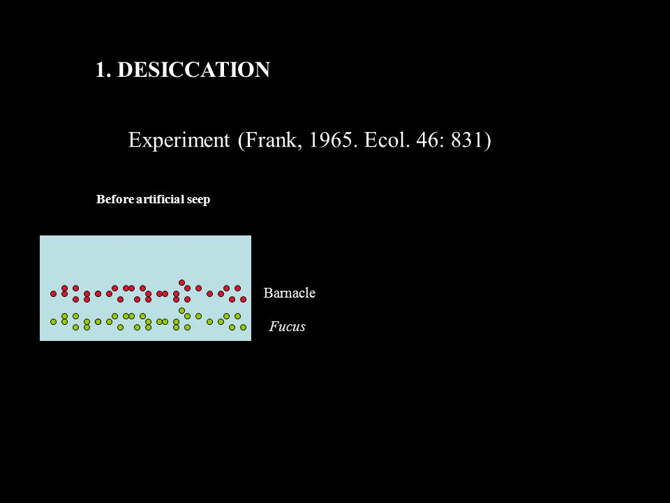 1. DESICCATION Experiment (Frank, 1965. Ecol. 46: 831) Barnacle Fucus Before artificial seep