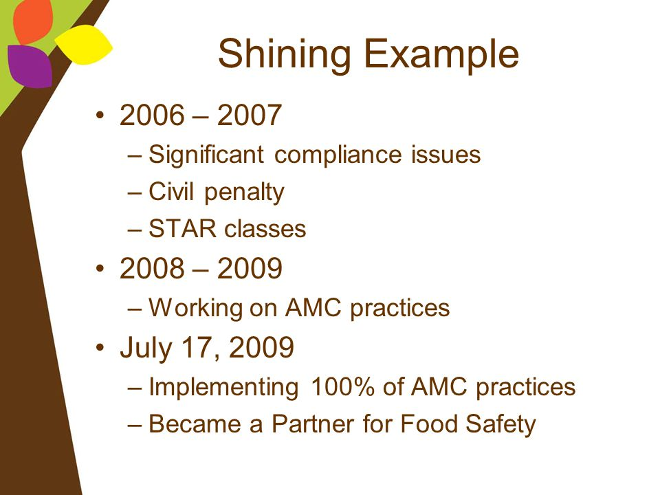 Shining Example 2006 – 2007 –Significant compliance issues –Civil penalty –STAR classes 2008 – 2009 –Working on AMC practices July 17, 2009 –Implement