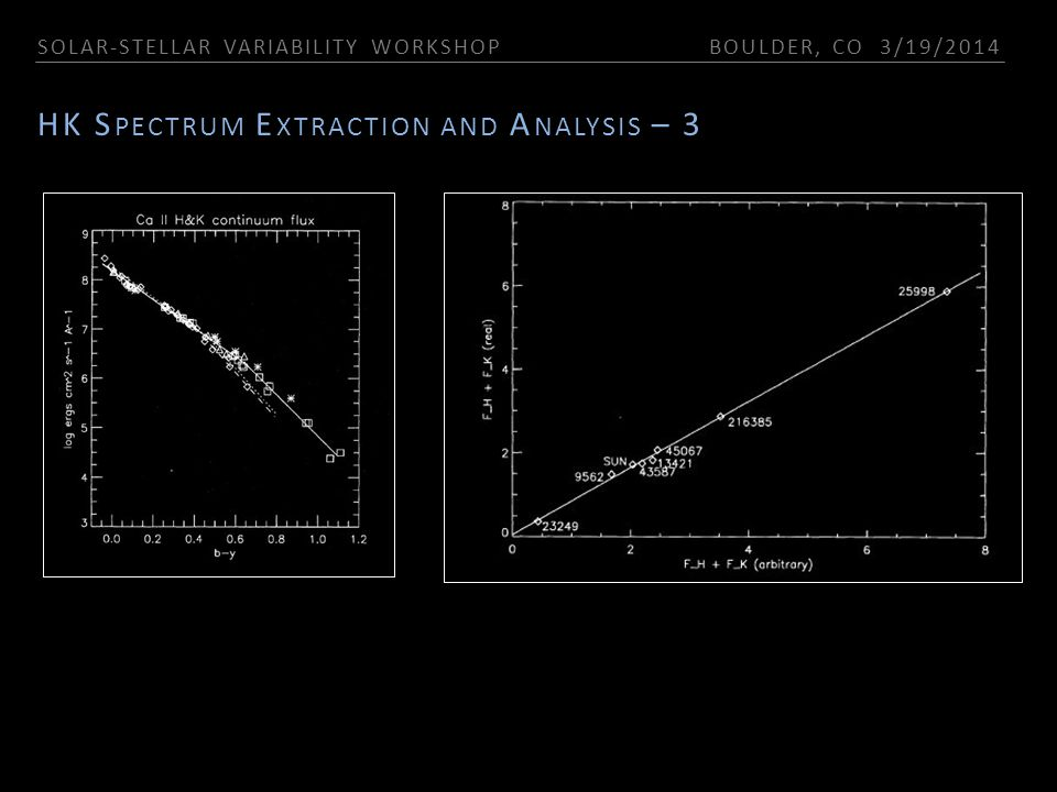 SOLAR-STELLAR VARIABILITY WORKSHOP BOULDER, CO 3/19/2014 HK S PECTRUM E XTRACTION AND A NALYSIS – 3