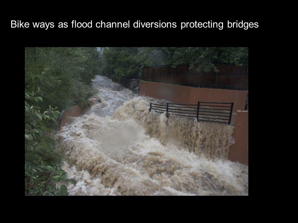Bike ways as flood channel diversions protecting bridges